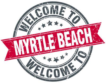 myrtle beach: welcome to Myrtle Beach red round vintage stamp