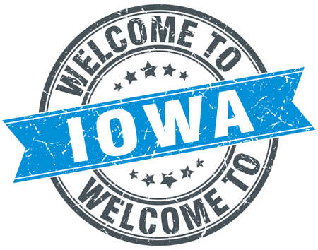 iowa: welcome to Iowa blue round vintage stamp