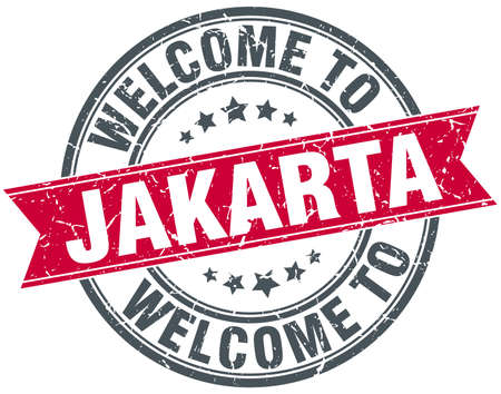 jakarta: welcome to Jakarta red round vintage stamp