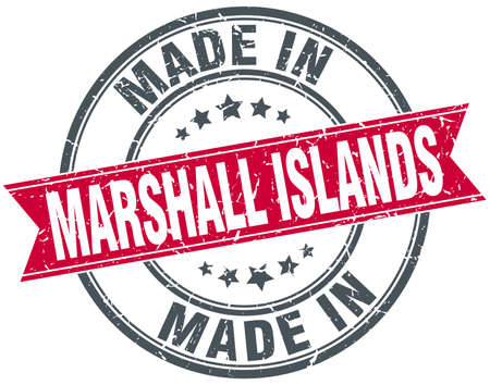 marshall: made in Marshall Islands red round vintage stamp