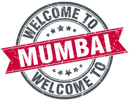mumbai: welcome to Mumbai red round vintage stamp Illustration