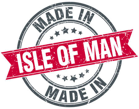 isles: made in Isle Of Man red round vintage stamp Illustration