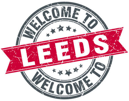 leeds: welcome to Leeds red round vintage stamp