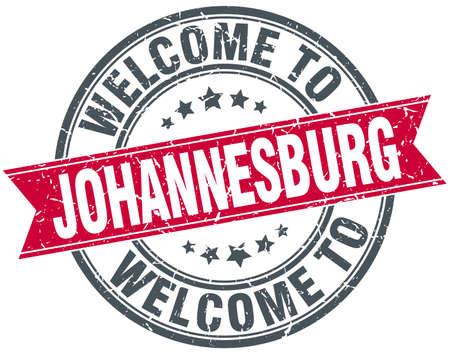 welcome to Johannesburg red round vintage stamp Illustration