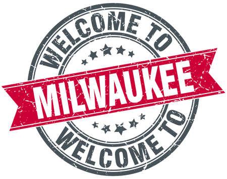 Milwaukee: welcome to Milwaukee red round vintage stamp Illustration
