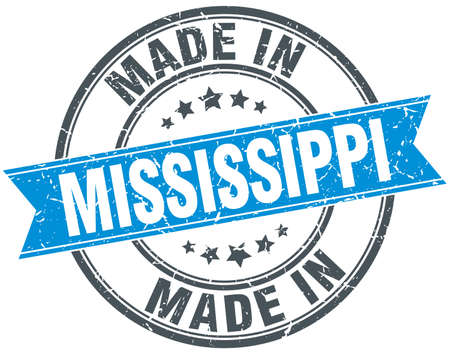 mississippi: made in Mississippi blue round vintage stamp