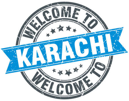 karachi: welcome to Karachi blue round vintage stamp