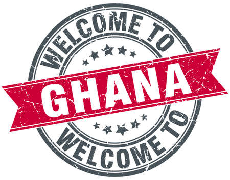 Ghana: welcome to Ghana red round vintage stamp