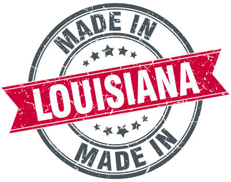 louisiana: made in Louisiana red round vintage stamp