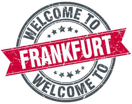 frankfurt: welcome to Frankfurt red round vintage stamp