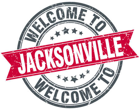 jacksonville: welcome to Jacksonville red round vintage stamp