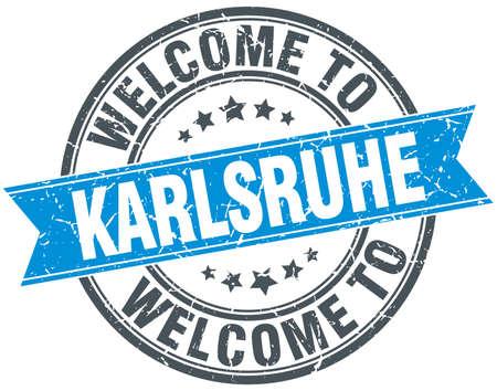 karlsruhe: welcome to Karlsruhe blue round vintage stamp