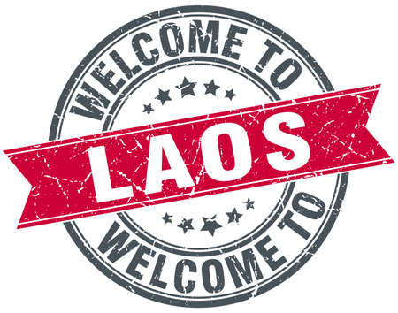 laos: welcome to Laos red round vintage stamp