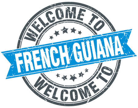 french guiana: welcome to French Guiana blue round vintage stamp