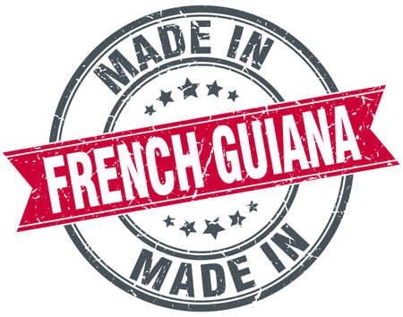 french guiana: made in French Guiana red round vintage stamp Illustration