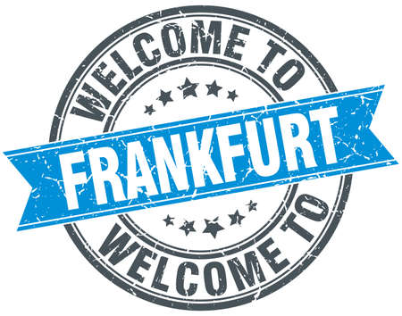 frankfurt: welcome to Frankfurt blue round vintage stamp