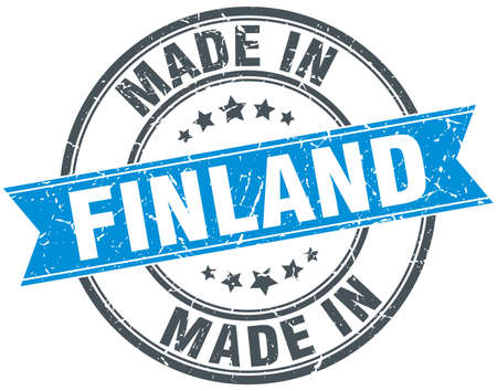 made in: made in Finland blue round vintage stamp