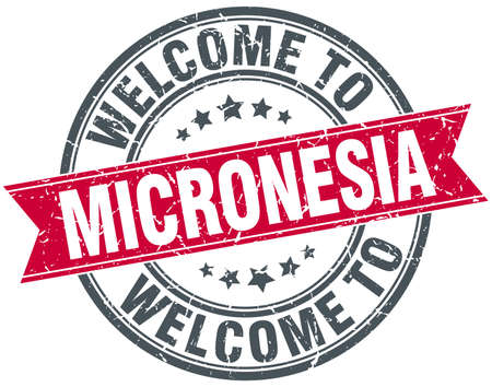micronesia: welcome to Micronesia red round vintage stamp Illustration