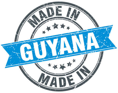 guyana: made in Guyana blue round vintage stamp