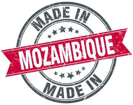 mozambique: made in Mozambique red round vintage stamp Illustration
