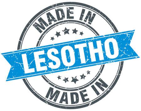 lesotho: made in Lesotho blue round vintage stamp