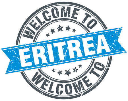 eritrea: welcome to Eritrea blue round vintage stamp