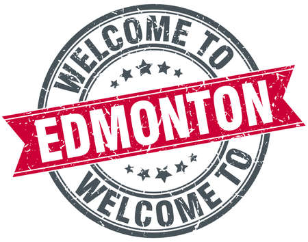 edmonton: welcome to Edmonton red round vintage stamp