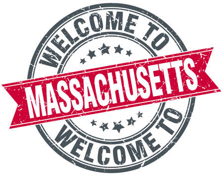 massachusetts: welcome to Massachusetts red round vintage stamp