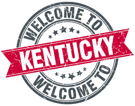 kentucky: welcome to Kentucky red round vintage stamp Illustration