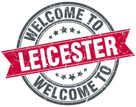 leicester: welcome to Leicester red round vintage stamp