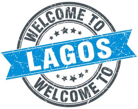 lagos: welcome to Lagos blue round vintage stamp Illustration