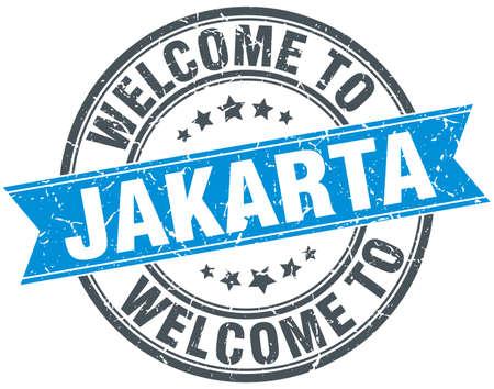 jakarta: welcome to Jakarta blue round vintage stamp