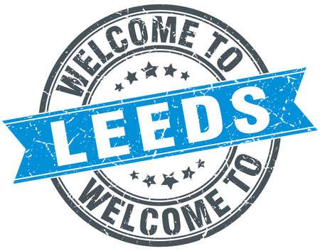 leeds: welcome to Leeds blue round vintage stamp Illustration