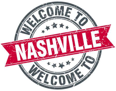 nashville: welcome to Nashville red round vintage stamp