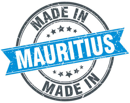 mauritius: made in Mauritius blue round vintage stamp