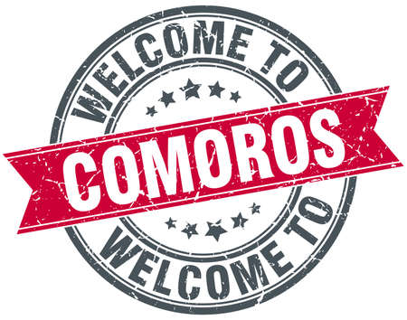 comoros: welcome to Comoros red round vintage stamp Illustration