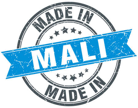 mali: made in Mali blue round vintage stamp