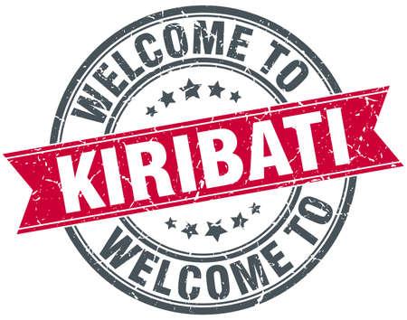 kiribati: welcome to Kiribati red round vintage stamp