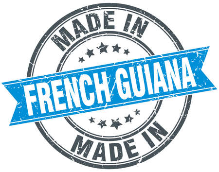 french guiana: made in French Guiana blue round vintage stamp