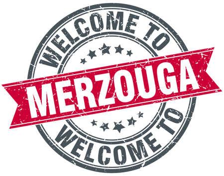 merzouga: welcome to Merzouga red round vintage stamp Illustration