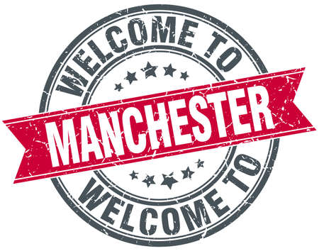 manchester: welcome to Manchester red round vintage stamp