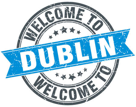dublin: welcome to Dublin blue round vintage stamp