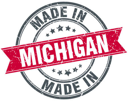 michigan: made in Michigan red round vintage stamp Illustration