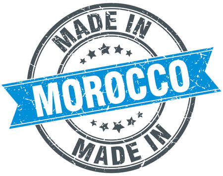 made in morocco: made in Morocco blue round vintage stamp