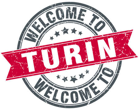 turin: welcome to Turin red round vintage stamp
