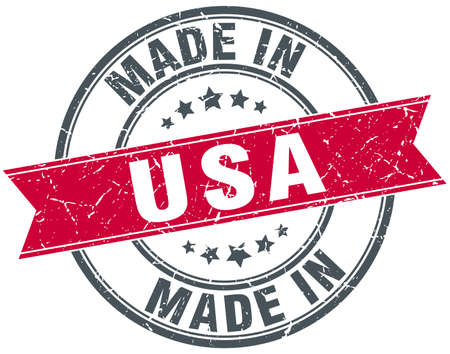 usa: made in usa red round vintage stamp