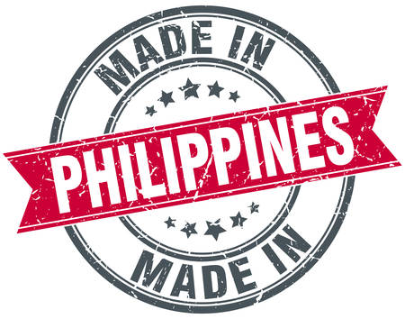 philippines: made in Philippines red round vintage stamp