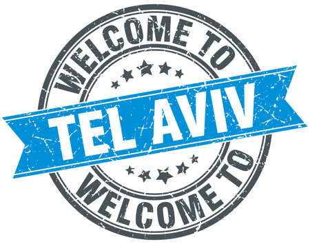 tel: welcome to Tel Aviv blue round vintage stamp