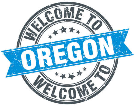oregon: welcome to Oregon blue round vintage stamp