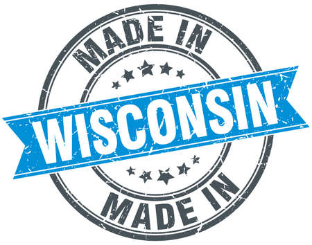 wisconsin: made in Wisconsin blue round vintage stamp Illustration